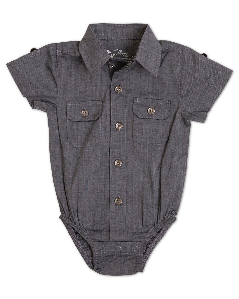 James Shadow Black Short Sleeve Dress Shirt and Bodysuit