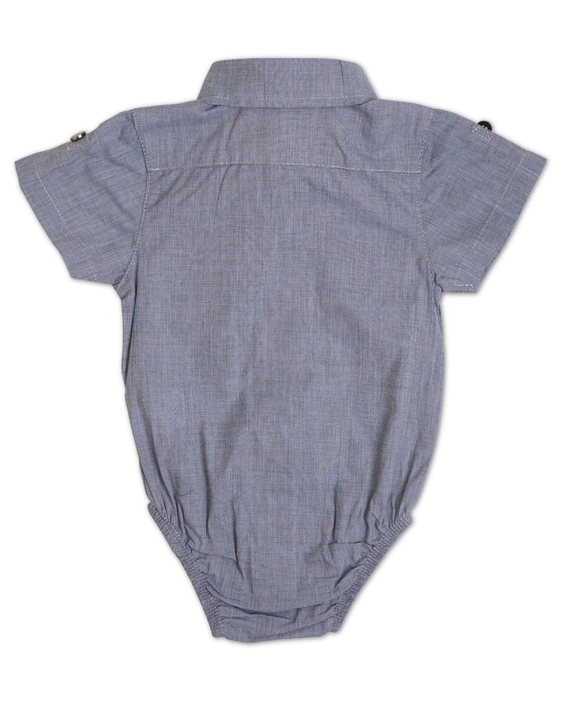Mason Steel Blue Short Sleeve Dress Shirt and Bodysuit