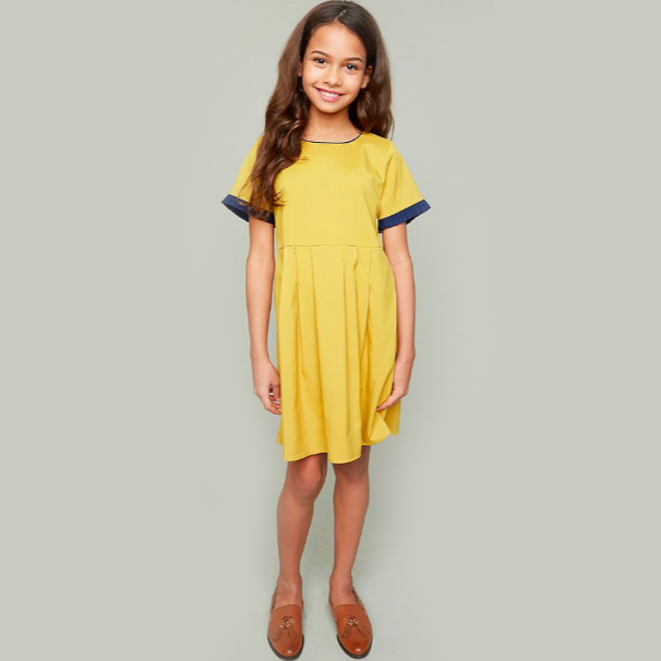 HARPER Pleated Babydoll Dress - Mustard