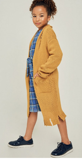 Marlene Distressed Knit Sweater Duster - Mustard