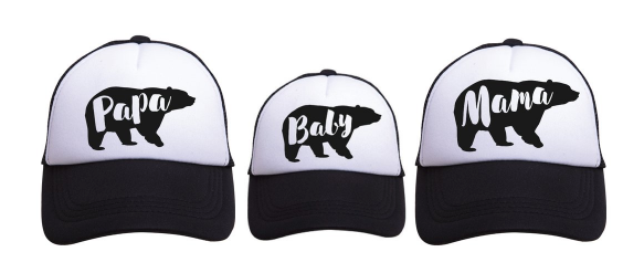 Mama / Papa / Baby Bear Trucker Hat Matching Family