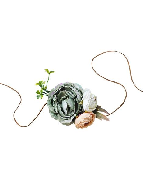 Tie Back Floral Headband - Seafoam & Peach