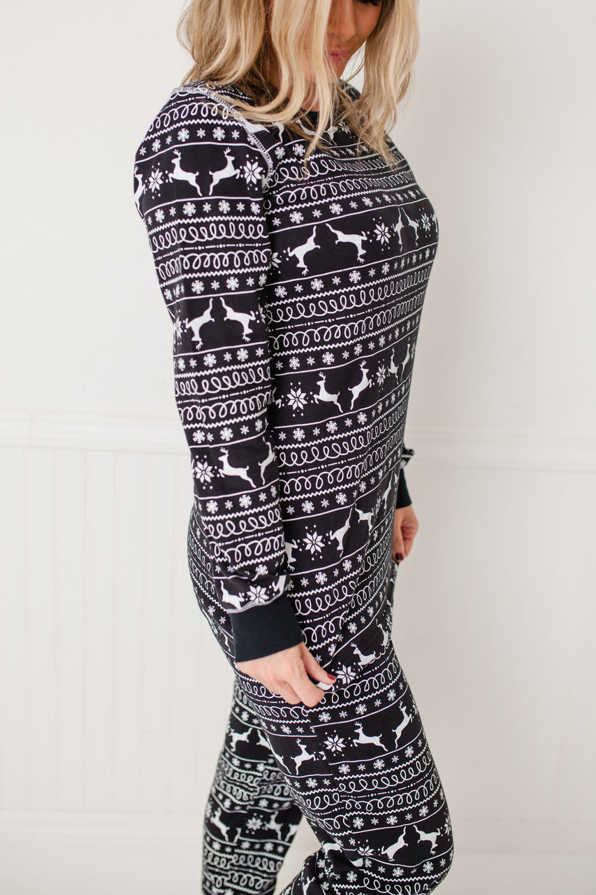 716281d57a Black Nordic Reindeer Women s Full Pajama Set  Matching Family Pajamas . Twinsies  Rock