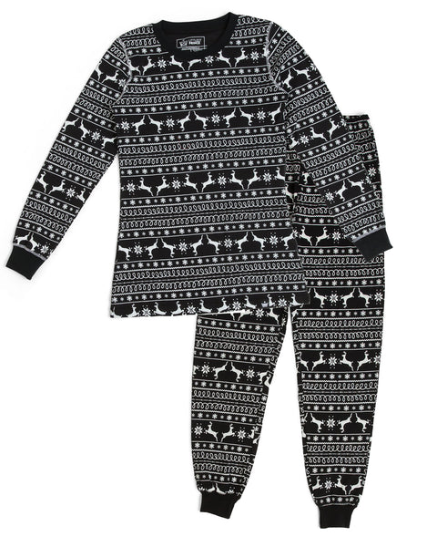 9725755f88 Black Nordic Reindeer Women s Full Pajama Set  Matching Family Pajamas – Twinsies  Rock