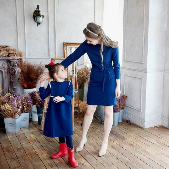 Lucille Mommy & Me Tip the Scallops Navy Blue Dress