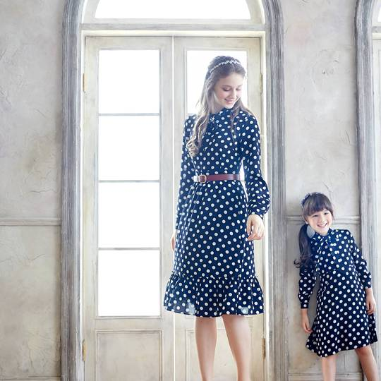 Margaret Mommy and Me Blue & White Polka Dot Long Sleeve Fit & Flare Dress