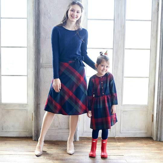 Alice Mommy & Me Plaid Cotton Fit-n-Flare Skirt/Dress