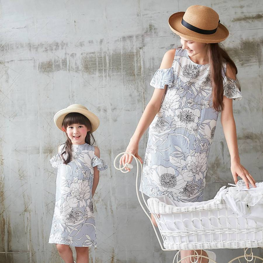 OLIVIA - Cold Shoulder Blue Floral Dress - Mommy and Me