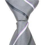 X6 - Grey with Grey and White Stripes Matching Tie