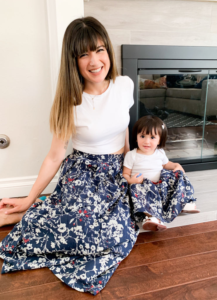 MAISIE - Navy Floral Skirt -  Mommy and Me