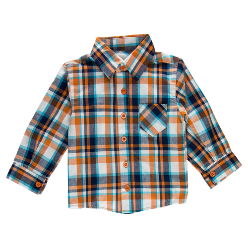 Logan Orange Plaid Dress Shirt and Bodysuit