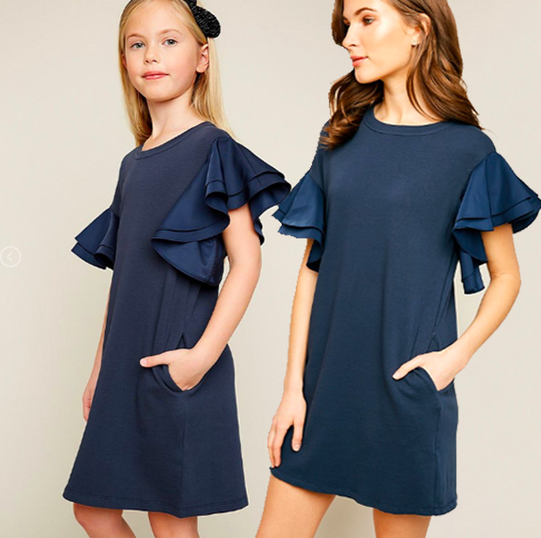 Lila Asymmetric Shoulder Ruffled Shift Dress - Navy (Juniors/Women)