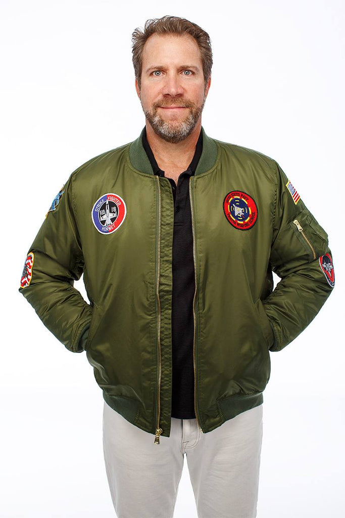 (Daddy and Me) MA-1 Green Flight Jacket | Maverick Top Gun Jacket