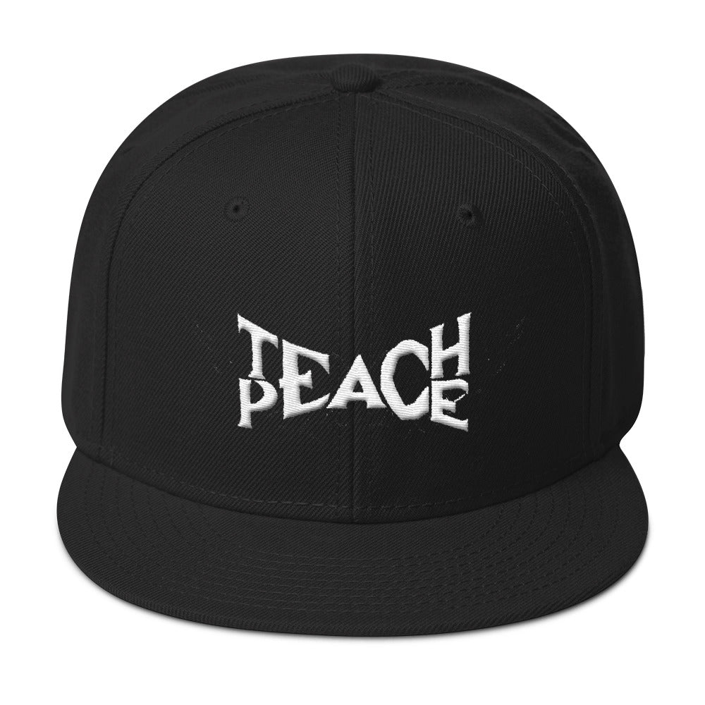 Teach Peace Black Snapback Hat