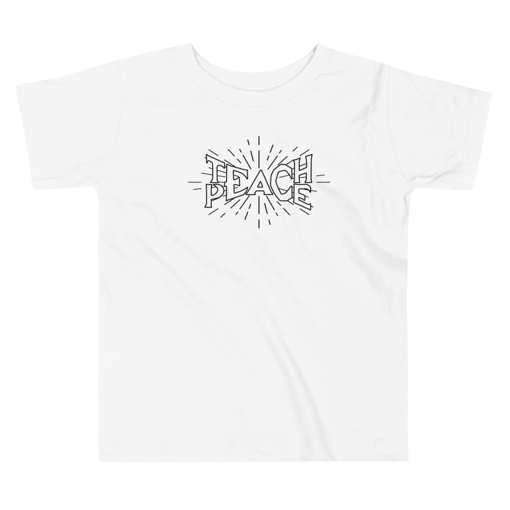 Teach Peace Ray Hollow - Toddler Short Sleeve White Tee