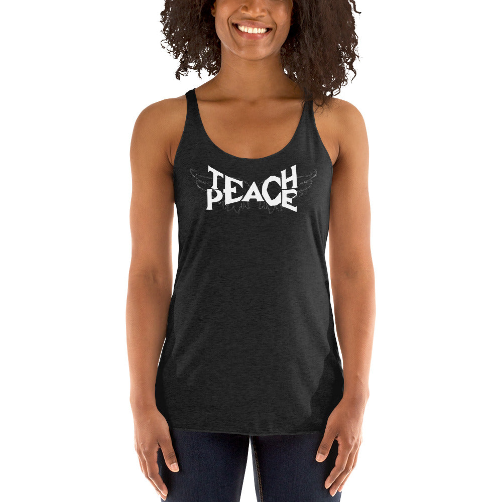 Teach Peace Wings - Women's Racerback Black Tank