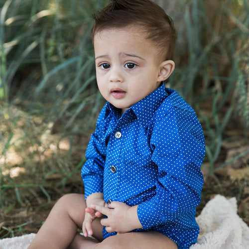 Liam Navy Dots Dress Shirt and Bodysuit