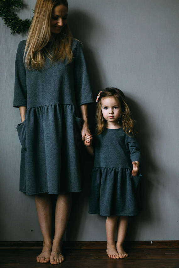 CUSTOM (SET OF 2 DRESSES) - Tiny Bunny Handmade Oversized Dress with Oversized Pockets (Mommy and Me Matching)