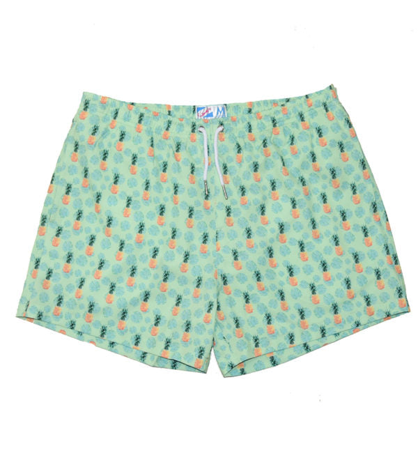 GREEN PINEAPPLE VIBES - Father and Son Matching Swim Trunks - Bermies | Daddy+Me