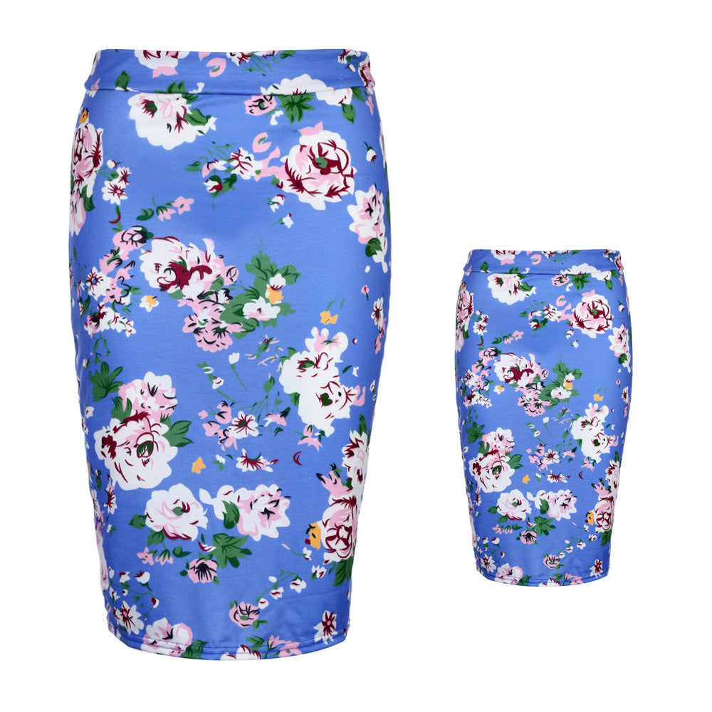 ISABELLA - Mommy and Toddler Floral High Waist Pencil Skirt