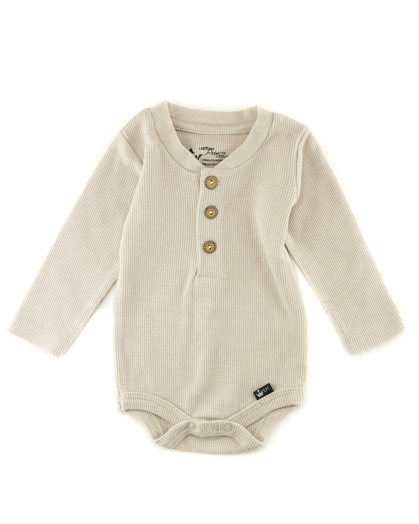 Wyatt Tan Thermal Henley Shirt and Bodysuit