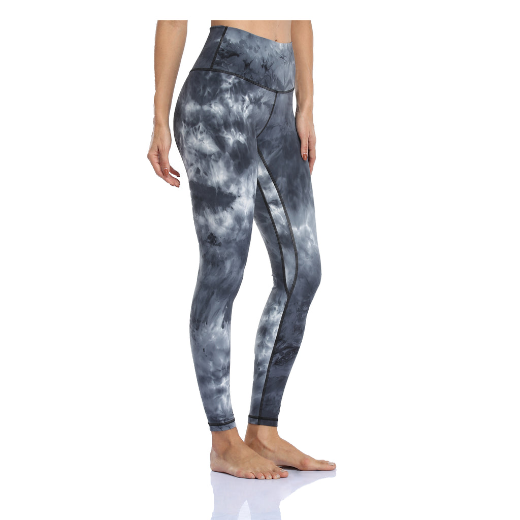 28″ Tie Dye High Waisted Leggings - Black & White Mixed Tie Dye