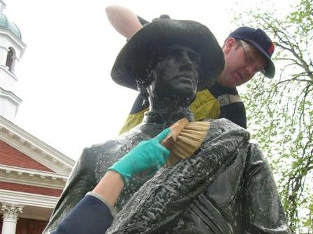 Confederate Solider being cleaned
