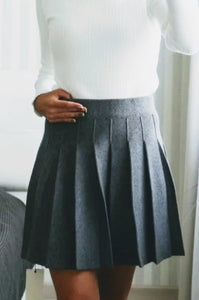 Mini Wool Pleated Skirt