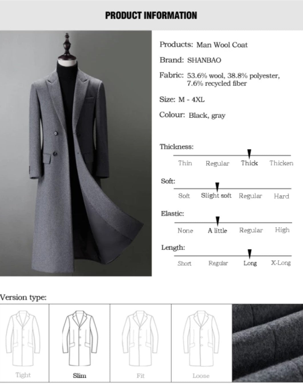 Slim Fit Wool Blend Coat