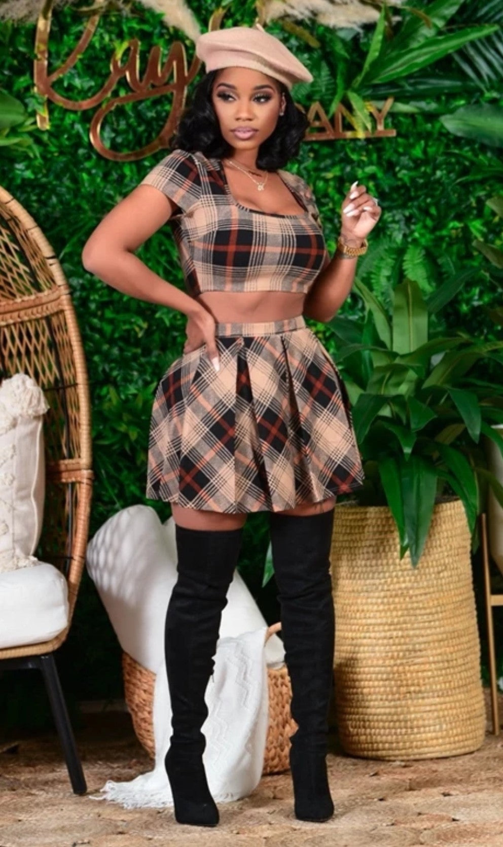 Plaid Crop with Pleated Mini Skirt
