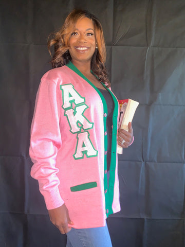 Alpha Kappa Alpha Striped Cardigan Sweater