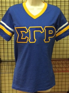 Sigma Gamma Rho V-Neck Striped Tee