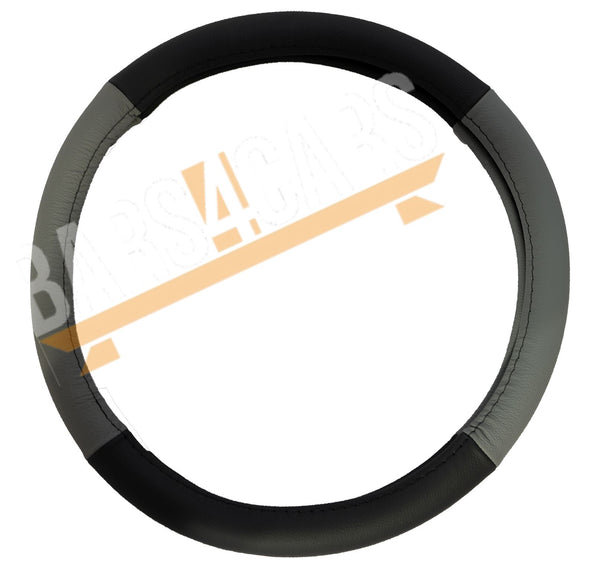 Grey Black Leather Stitched Steering Wheel Cover for Peugeot 107 05-On - UKB4C