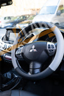 Grey Black Leather Stitched Steering Wheel Cover for Mitsubishi ASK 10-On - UKB4C