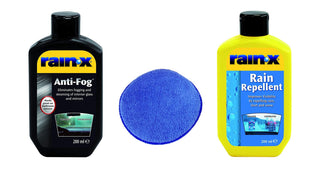 RainX Rain Repellent & Anti Fog Twin Pack Clear Cleaner Windscreen & Microfibre Pad - UKB4C