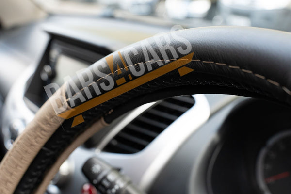 Beige Black Leather Stitched Steering Wheel Cover for Ssangyong Kyron - UKB4C