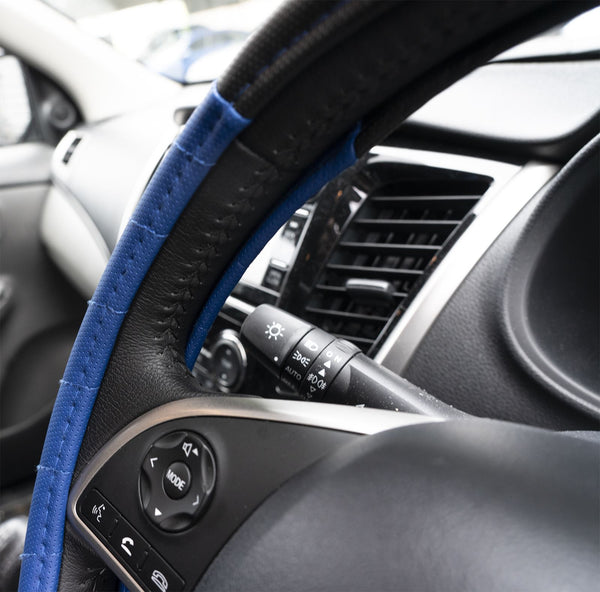 UKB4C Blue Leather Look Stitched Steering Wheel Cover for Vauxhall Ampera & Michelin Air Freshener - UKB4C