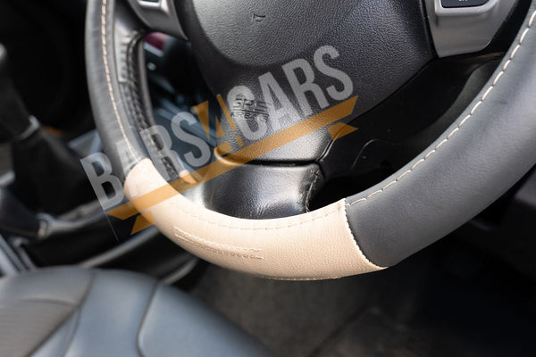 Beige Black Leather Stitched Steering Wheel Cover for Toyota Auris 07-13 - UKB4C