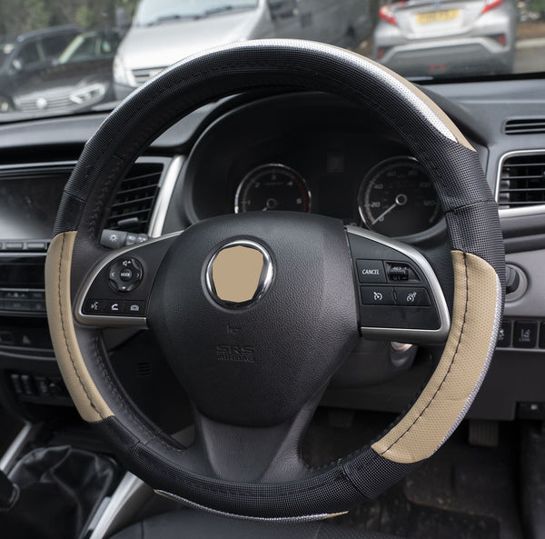 UKB4C Beige & Silver Leather Look Stitched Steering Wheel Cover for Seat Exeo St 09-On & Michelin Air Freshener - UKB4C