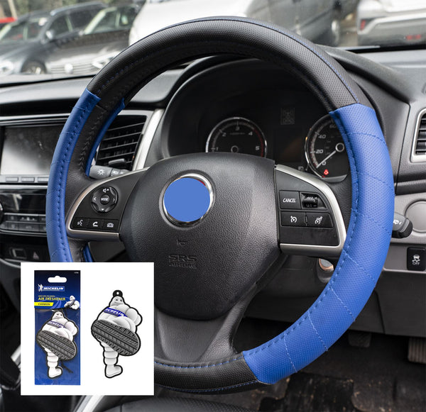 UKB4C Blue Leather Look Stitched Steering Wheel Cover for Mazda 3 Hatchback 04-On & Michelin Air Freshener - UKB4C