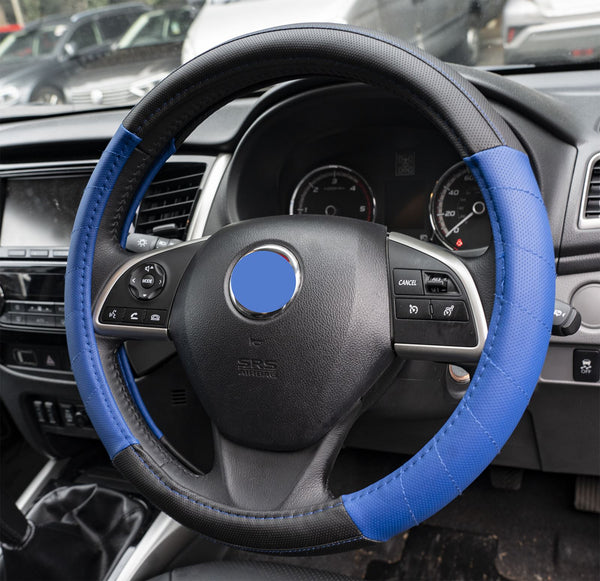 UKB4C Blue Leather Look Stitched Steering Wheel Cover for Mitsubishi Outlander 07-On & Michelin Air Freshener - UKB4C