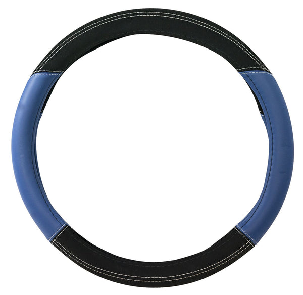 UKB4C Blue Leather Look Stitched Steering Wheel Cover for Audi 100 & Michelin Air Freshener - UKB4C