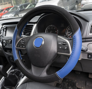 UKB4C Blue Leather Look Stitched Steering Wheel Cover for Fiat Doblo All Years - UKB4C
