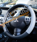 Grey Black Leather Stitched Steering Wheel Cover for Ford Cortina - UKB4C