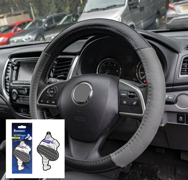 UKB4C Grey Leather Look Stitched Steering Wheel Cover Citroen Xsara Hatchback 00-04 & Michelin Air Freshener - UKB4C