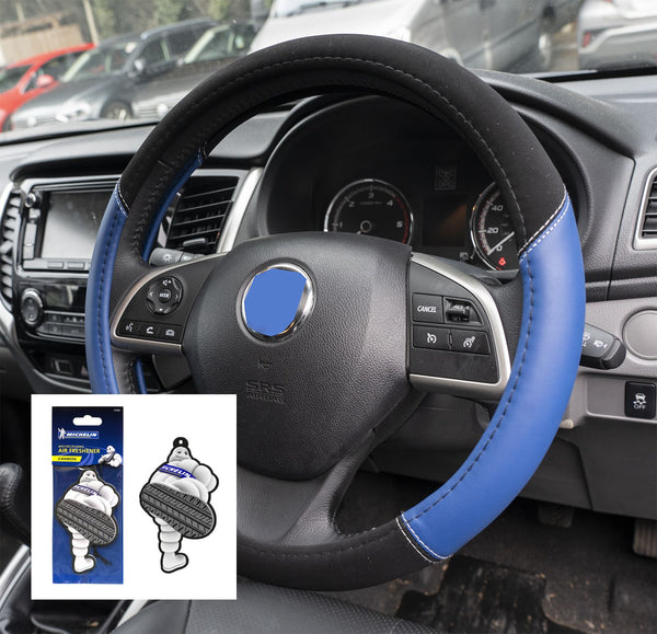 UKB4C Blue Leather Look Stitched Steering Wheel Cover for Peugeot 407 All Models & Michelin Air Freshener - UKB4C