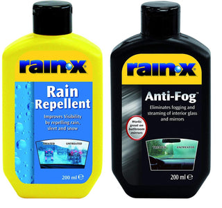RainX Rain Repellent 200ml and Anti Fog 200ml Twin Pack Clear Cleaner Windscreen - UKB4C