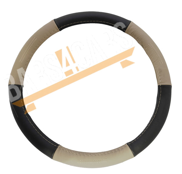Beige Black Leather Stitched Steering Wheel Cover for Vauxhall Corsa Hatchback - UKB4C