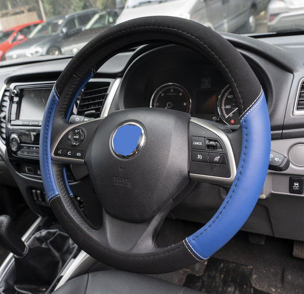 UKB4C Blue Leather Look Stitched Steering Wheel Cover for Renault Koleos 08-10 & Michelin Air Freshener - UKB4C