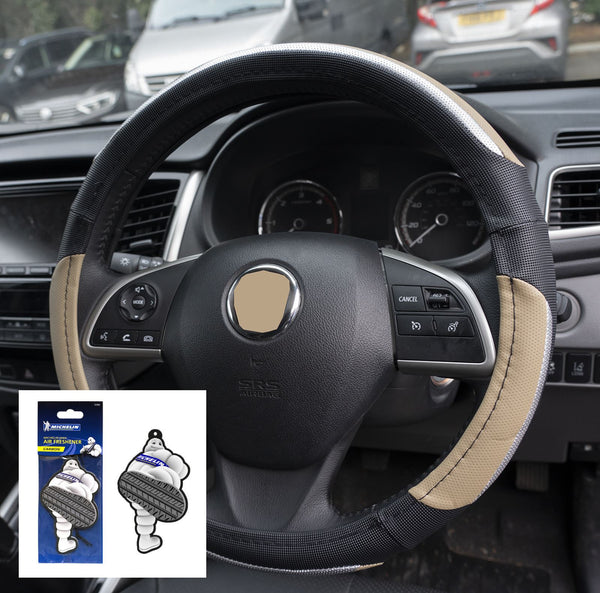 UKB4C Beige & Silver Leather Look Stitched Steering Wheel Cover Hyundai I20 Hatchback 09-On & Michelin Air Freshener - UKB4C